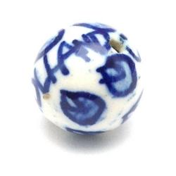 Keramiek kraal, rond, Delfts blauw, 'Holland' 12 mm (5 st.)