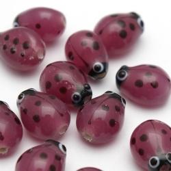 Glaskraal, lieveheersbeestje, paars (10 st.)