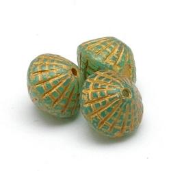 Tsjechisch glas, kraal, Opal Uranium Green Aquamarine, 8x8 mm (17 st.)