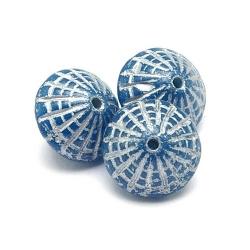 Tsjechisch glas, kraal, Alabaster Capri Blue Silver wash, 8x8 mm (17 st.)