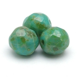 Tsjechisch glas, kraal, rond, facet, Turquise Green Travertine, 8 mm (22 st.)