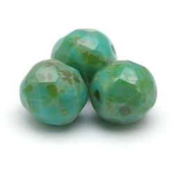 Tsjechisch glas, kraal, rond, facet, Turquise Green Travertine, 8 mm (22 st.)