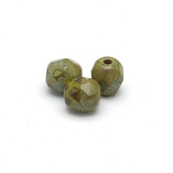Tsjechisch glas, kraal, rond, facet, opaq Pea Green Travertin, 3 mm (120 st.)