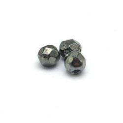 Tsjechisch glas, kraal, rond, facet, Jet Hematit, 4 mm (65 st.)