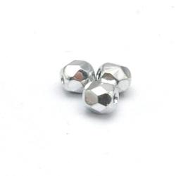 Tsjechisch glas, kraal, rond, facet, crystal Full Silver, 3 mm (120 st.)
