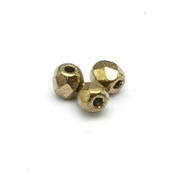 Tsjechisch glas, kraal, rond, facet, Jet Bronze Gold, 3 mm (120 st.)