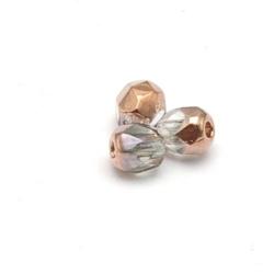 Tsjechisch glas, kraal, rond, facet, Crystal Capri Gold, 3 mm (120 st.)