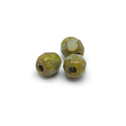 Tsjechisch glas, kraal, rond, facet, Opaq Green Olive Dark Travertin, 4 mm (65 st.)