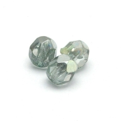 Tsjechisch glas, kraal, rond, facet, Crystal Half Apollo Aquamarine Light, 4 mm (65 st.)