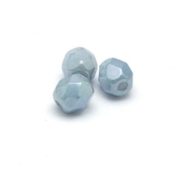 Tsjechisch glas, kraal, rond, facet, Snow White Lustred Blue, 4 mm (65 st.)