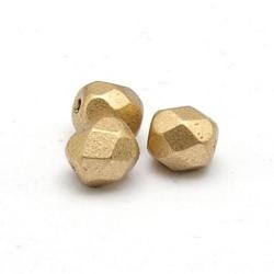 Tsjechisch glas, kraal, rond, facet, Jet Mat Bronze copper 4 mm (65 st.)
