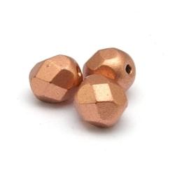 Tsjechisch glas, kraal, rond, facet, Jett Matt Bronze, 6 mm (25 st.)