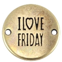 DQ tussenstuk antique goud quote I love friday 20 mm (1 st.)