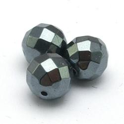 Hematiet kraal rond facetten 9 mm (10 st.)