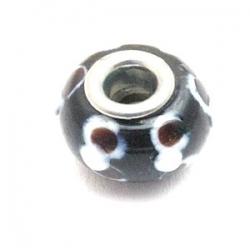 Glaskraal met groot rijggat, metalen kern, zwart, 9x14 mm (1 st)