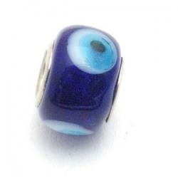 Glaskraal met groot rijggat, metalen kern, blauw, 9x14 mm (1 st)