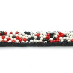 Natuurleer plat zwart/wit/rood 5mm (1 mtr.)