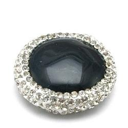 Agaat kraal glitter rond zwart 22 mm (1 st.)