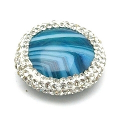 Agaat kraal glitter rond blauw 22 mm (1 st.)
