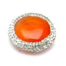 Agaat kraal glitter rond oranje 22 mm (1 st.)