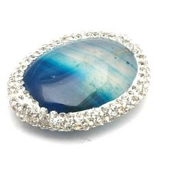 Agaat kraal glitter ovaal blauw 30x22 mm (1 st.)