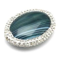 Agaat kraal glitter ovaal groen 30x22 mm (1 st.)