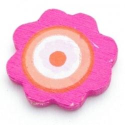 Houten kraal, bloem, roze, 23 mm (10 st.)