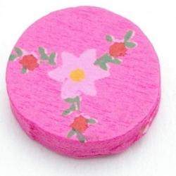 Houten kraal, rond, bloempjes, roze, 16 mm (10 st.)