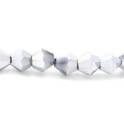Facet kraal bicone zilver 4mm (streng)