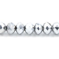 Facet kraal donut zilver 3x4mm (streng)
