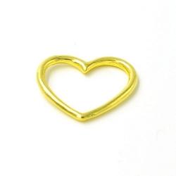 DQ metaal hanger open hart goud 25mm (5 st.)