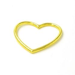 DQ metaal hanger open hart goud 35x30mm (3 st.)